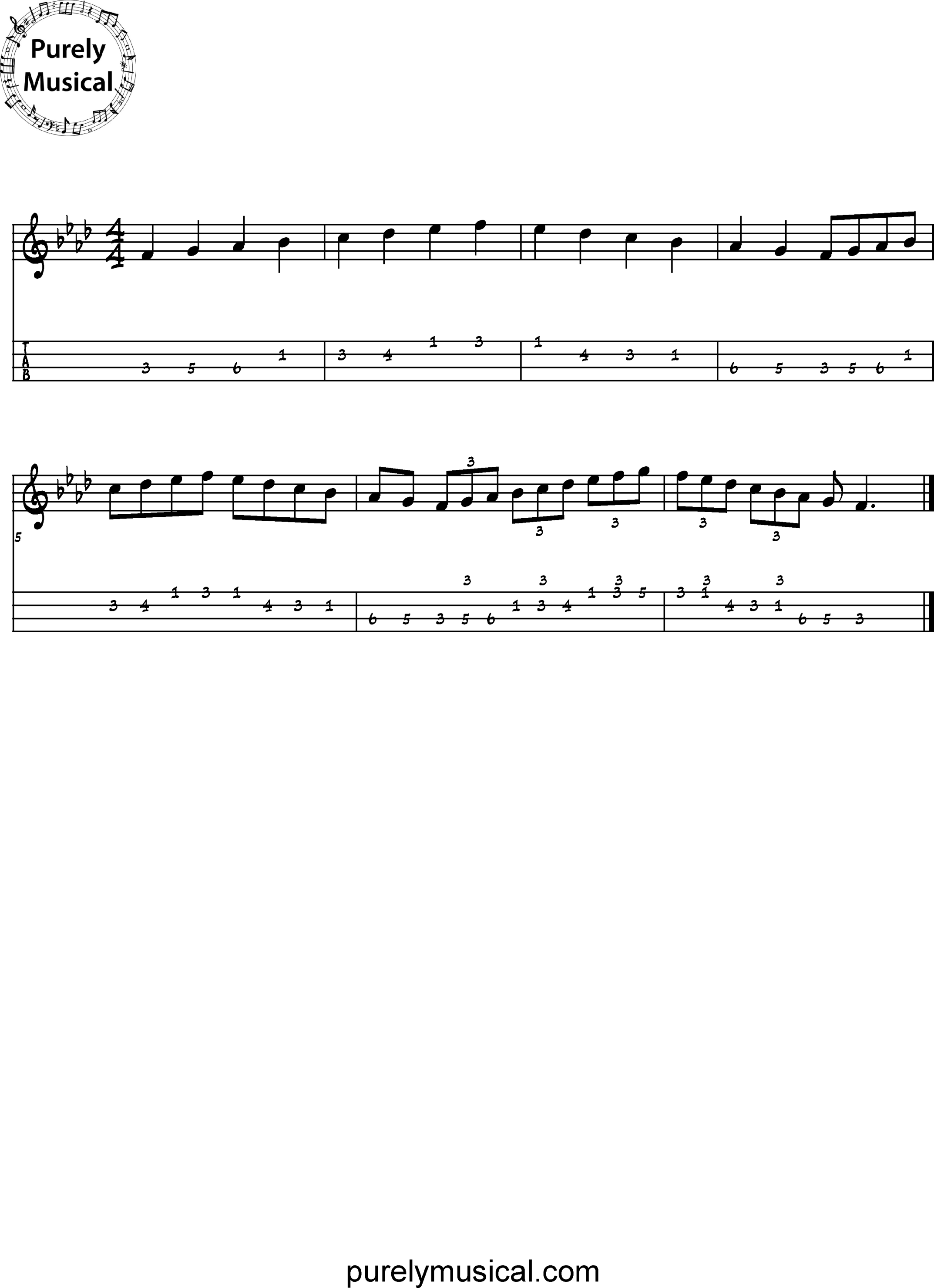 Intermediate Tenor Scale F Minor Scale